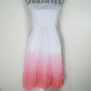 J. Crew white coral hombre strapless dress size 4